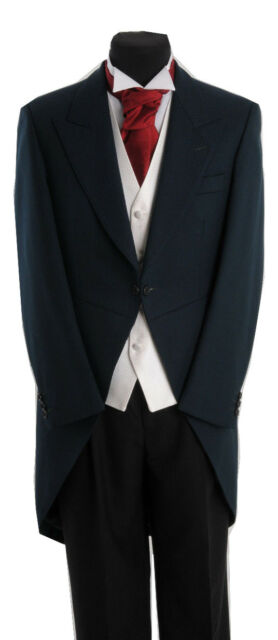 MENS GREEN ASCOT TAILCOAT WEDDING MORNING SUIT TAILS GOTH FANCY DRESS JACKET