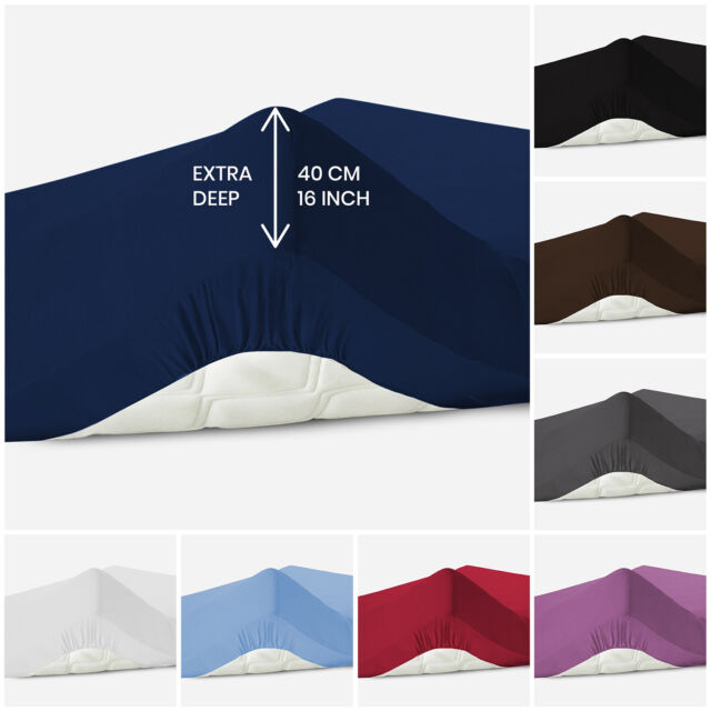 140 cm x 200 cm White Family Bedding Cotton Thick Jersey Double Bed Fitted Sheet