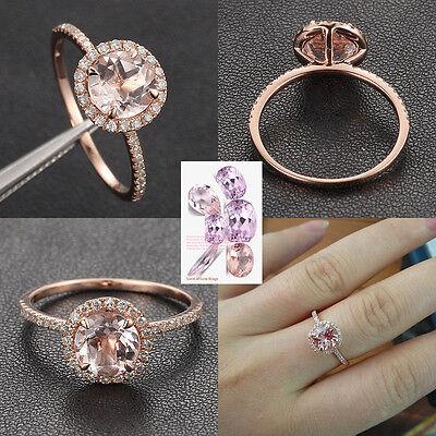 Solid 14K Rose Gold 7mm Round Cut Morganite Engagement Wedding Diamond Ring Halo