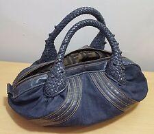 Retro Fendi Denim Mini Spy Bag Blue Leather Canvas Designer Handbag Purse