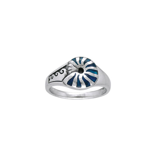 ocean wave Inlaid Nautilus Paua Shell Sterling Silver Ring Peter Stone Jewelry