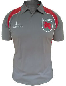 Olorun Wales Rugby Supporters Retro Polo Shirts Grey/Red Size S-4XL