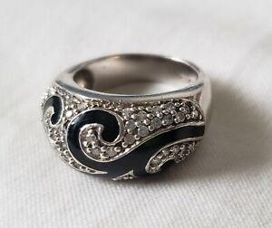 Vintage Sterling Silver White Topaz Geometric Long Ring Size 8