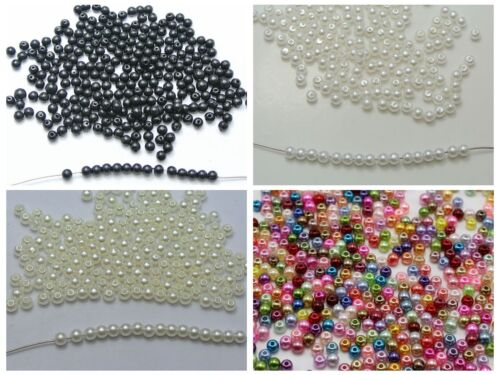 2000 Faux Perle Perles Rondes Imitation Pearl 3 mm perles de rocaille couleur choix