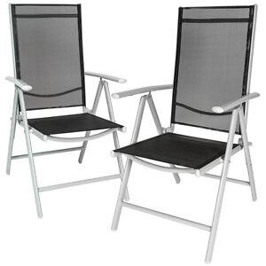 Set 2 Aluminium folding garden chairs outdoor camping patio furniture silver