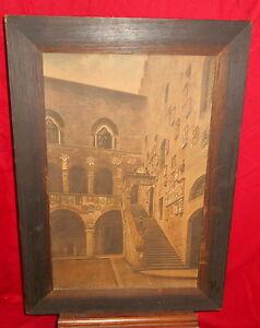 "Large Old Framed Print Bargello Museum Italy E Bensa Wide Oak Frame 32""x23"""