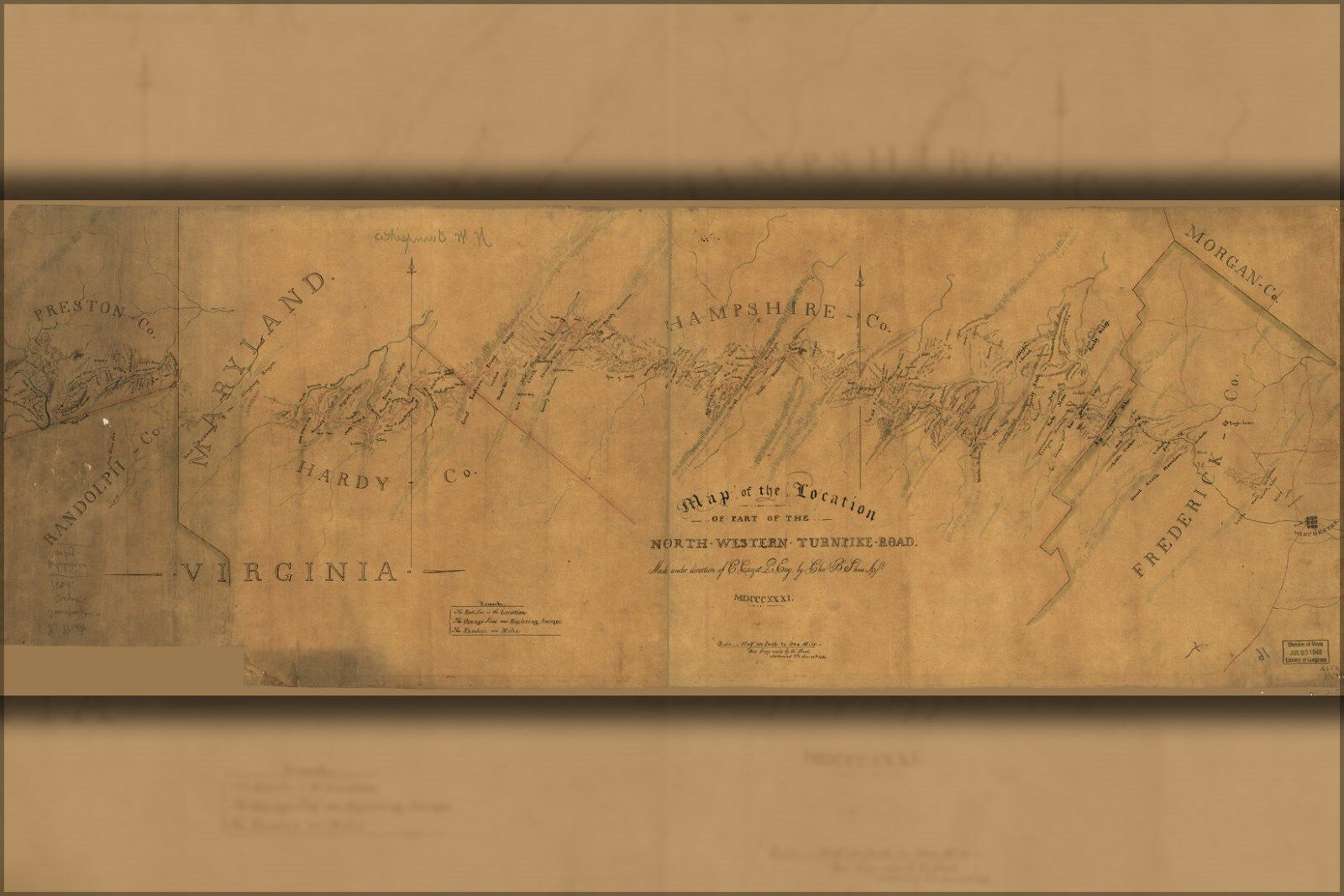 Poster, Molte Misure; Mappa Del NW Turnpike 1831 Strada via Maryland Virginia 1831 Turnpike d2b4d5