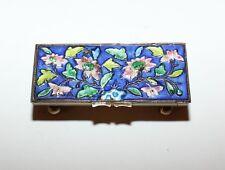 Vintage Chinese Cloisonne Brass Enamel Stamp Box
