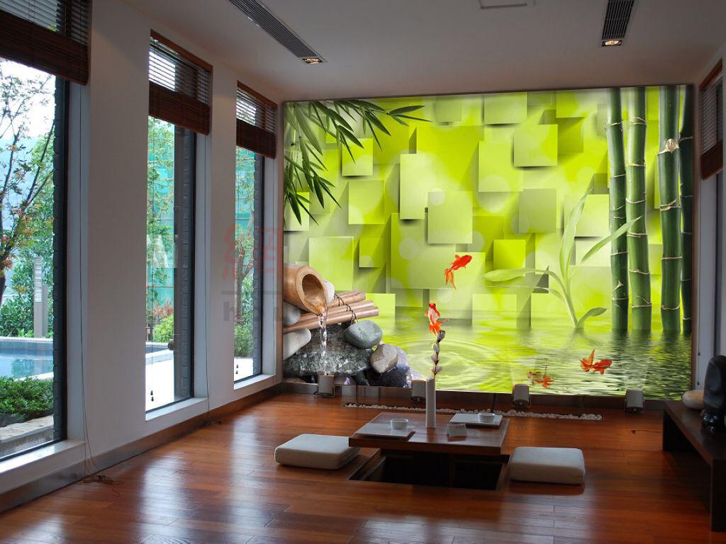 3D Bambus, Fisch 44 Fototapeten Wandbild Fototapete Bild Tapete Familie Kinder  | Sehr gute Qualität  | Online Outlet Shop  | Ausgezeichnetes Preis