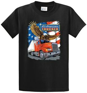 American trucker printed t shirt cotton men 39 s big and tall for Big and tall printed t shirts