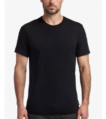 James Perse Men Relaxed Fit S//S Crewneck Cotton T-Shirt Solid Black Wash MLJ3311