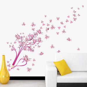 Babyzimmer wandtattoo mädchen  Wandtattoo Mädchen Schule pink rosa Blumen Kind Schmetterling ...
