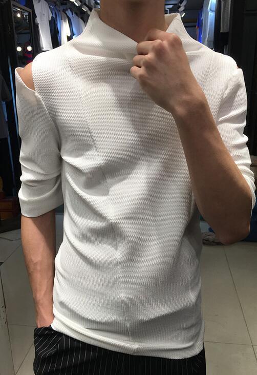 Korean Mens Fashion Hole Slim Half Sleeves T Shirt Night Clubwear Blouse 2 color