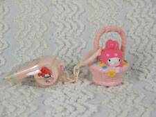 1976 Sanrio My Melody & Flat Mascot Pink Whistle in Bag & Basket Lock Japan RARE