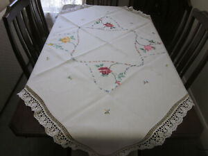 Gorgeous hand embroidered linen tablecloth