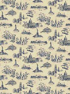 American-Landmarks-Wallpaper-in-Blue-on-Cream-682733