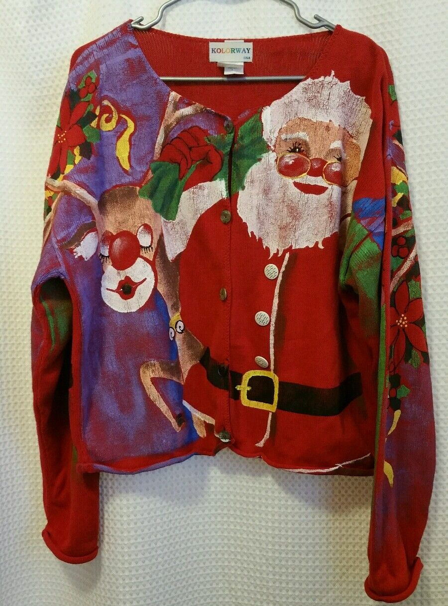 Kolorway Wearable Art Hand Painted CHRISTMAS Santa Cardigan Sweater Sz 2