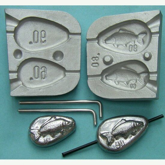 Inline Flat Pear lead mould   weights fishing lead mould Carp Boat Fishing ,