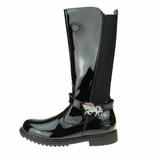 Lelli Kelly Marylin Girls Black Patent Boot size eu kids children zip leather