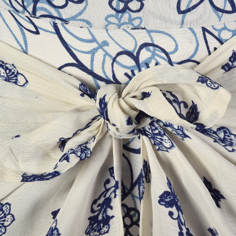XS 1990s Blue White Maxi Skirt Bohemian Long Laye… - image 6