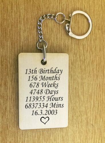 Personnalisé bois porte-clés 13e 16ème 18ème 21ème Anniversaire Toute Année Cadeau