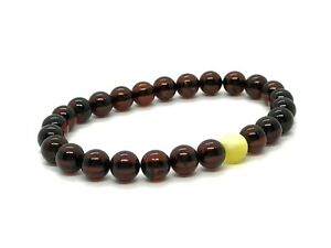 Amber-BRACELET-CHERRY-Natural-Baltic-Amber-Round-Beads-Elastic-Ladies-5g-12539