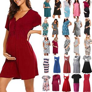 Womens-Maternity-Dress-V-Neck-Pregnancy-Clothes-Nursing-Sundress-Summer-Dress