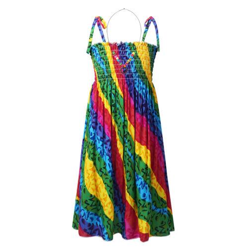 Girls Kid Shoulder Strap Dress Bohemian Maxi Long Dress Party Beachwear Sundress