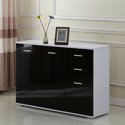 Cabinet Sideboard Cupboard Buffet Solo High Gloss Chest 3 Doors 2 Drawers
