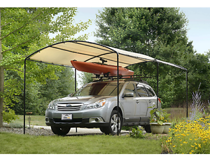 Image is loading Car-Sun-Shade-Canopy-Tent-Frame-Kit-Portable- & Car Sun Shade Canopy Tent Frame Kit Portable Garage Shelter Heavy ...