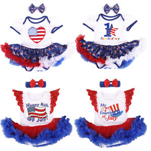My 1st 4th of July Tutu Romper Dress with Headband Clothes Outfits for Baby Girl