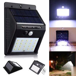 20 LED Solar Powered PIR Motion Sensor Light Outdoor Garden Security Wall Lights
