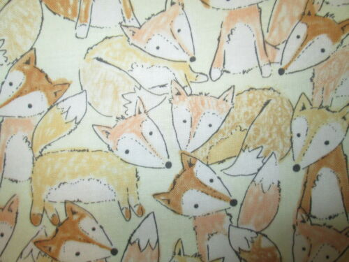 FOX FOXY FOXES NATURAL TAN COTTON FABRIC FQ