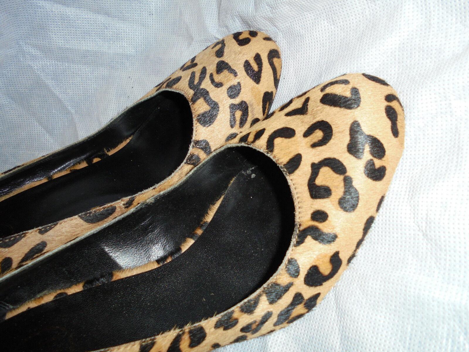 ASH WOMEN'S LEOPARD LEATHER SLIP ON HEEL Schuhe  SIZE UK 6 EU 39  VGC
