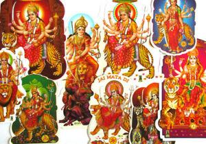 AUFKLEBER-DURGA-auf-Tiger-Loewe-Sticker-Indien-Nepal-Hinduismus-India-8-14cm-hoch