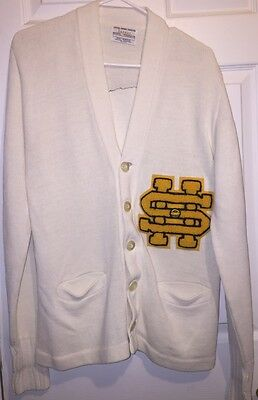 VINTAGE Men's Women's White Yellow VARSITY Cardigan Sweater SMALL ethankeith1