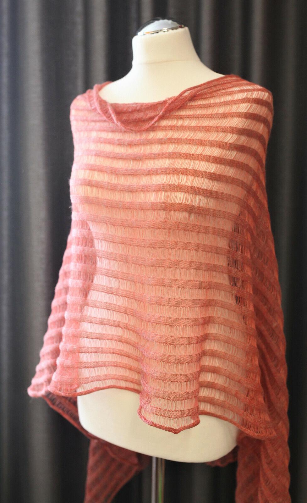Linen Handmade Knitted Womens Poncho, Knit Shawl, Luxurious Lightweight Summer P