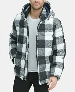 Tommy Hilfiger Men's White Plaid Quilted Puffer Hooded ...