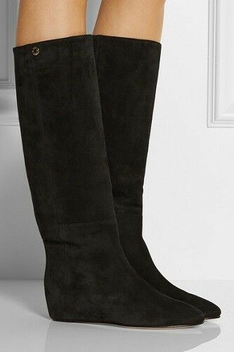 JIMMY CHOO Black Olivia Suede Boots size 37.5, US 7.5