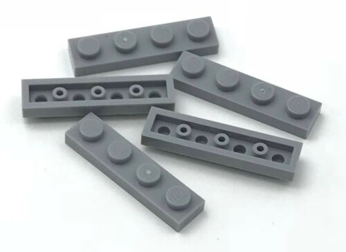 Lego 5 New Light Bluish Gray Plates 1 x 4 Dot Pieces