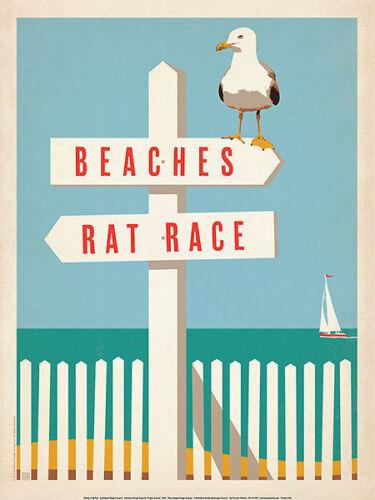 Beaches vs BEACH ART PRINT Rat Race Coastal Vintage Bird Motivational Poster