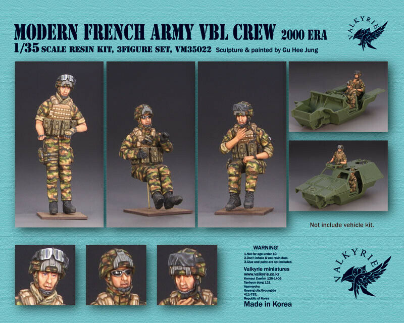 1 35 Scale resin model kit Modern French Army VBL Crew - 2000 Era (3 Figures)
