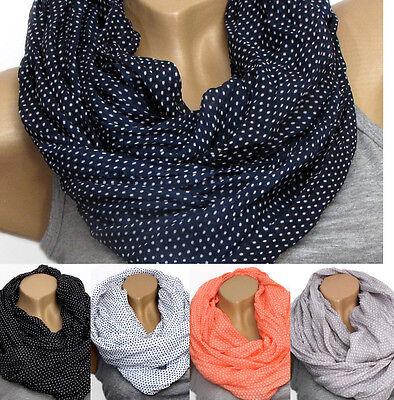 Loopschal Tuch Loop Rundschal Neu Damen Halstuch mit Dots aus Seide-Baumwolle