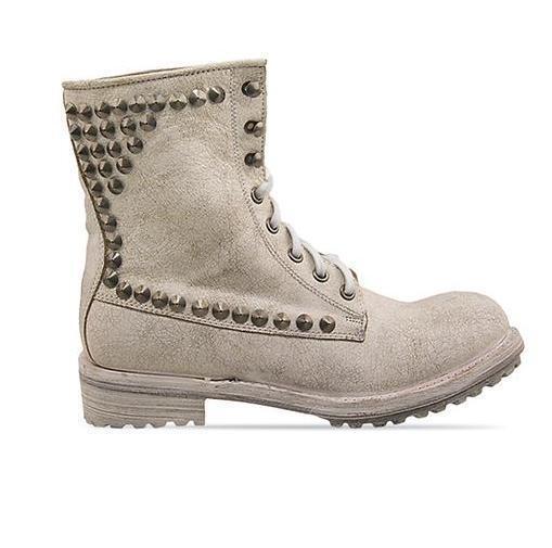 NEW Ash Ralph Platine White leather titan bis distressed boots gold studs SZ 36