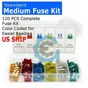New-120PC-Mediu-Trucks-SUV-039-S-Auto-Fuses-Assorted-Color-Coded-Car-Fuse-5-to-30amp