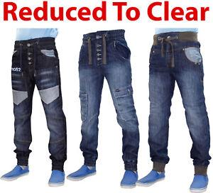Mens-Denim-Jeans-Rib-Cuffed-Straight-Leg-Men-Trousers-Pants-Blue-All-Waist-Sizes