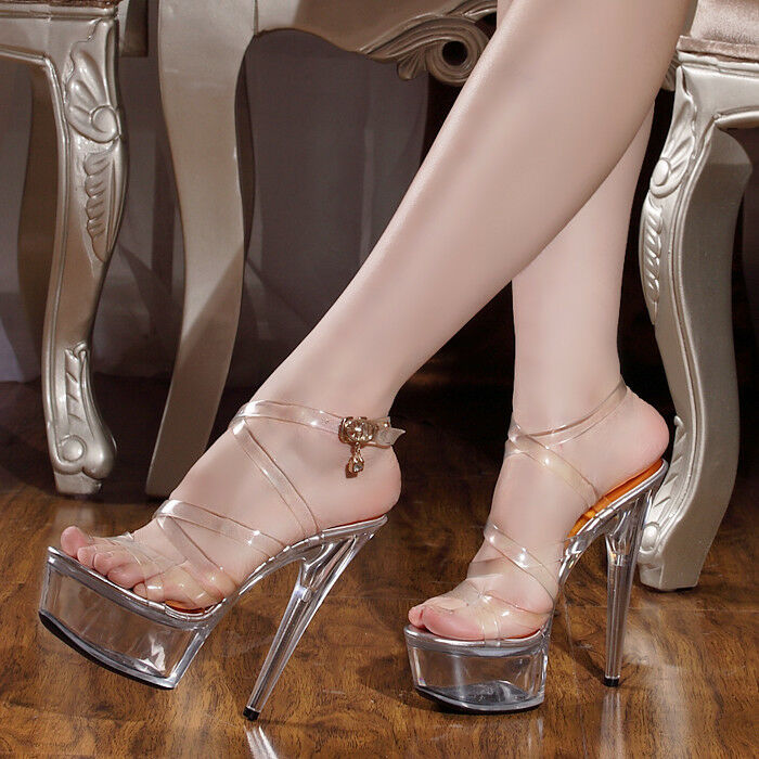 Sexy clear transparent womens 15cm high heels crystal stilettos pumps shoes size