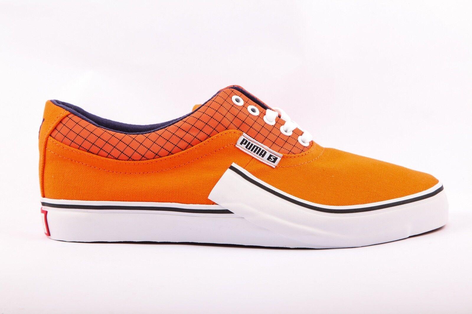 Mens Womens Puma Villian S Lace Up orange Canvas Trainers