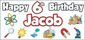 Personalised ANY NAME Science 6th Birthday Banner x 2 Party Decorations