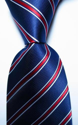 New Classic Striped Dark Blue Red White JACQUARD WOVEN Silk Men/'s Tie Necktie